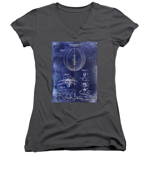 1927 Basketball Patent Drawing Blue Women's V-Neck T-Shirt