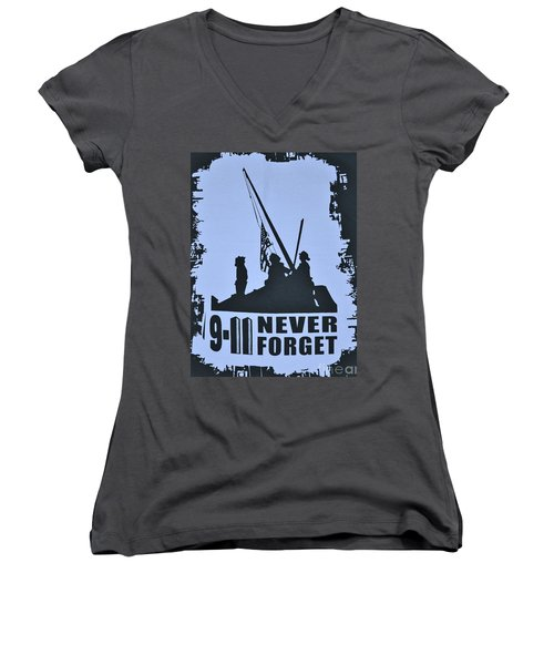 Women's V-Neck T-Shirt (Junior Cut) featuring the photograph  911 Poster In Black And White by Bob Sample