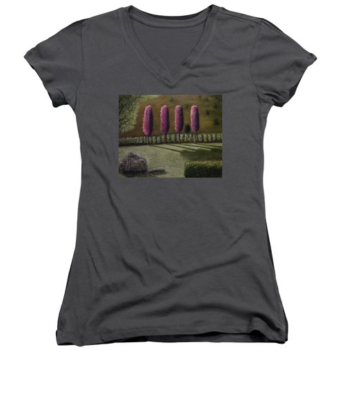Women's V-Neck T-Shirt (Junior Cut) featuring the painting  A Perfect Start by Shawn Marlow