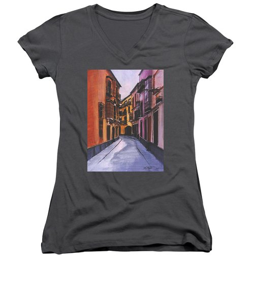 A Street In Seville Spain Women's V-Neck T-Shirt