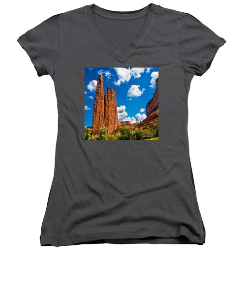 Canyon De Chelly Spider Rock Women's V-Neck T-Shirt (Junior Cut) by Bob and Nadine Johnston