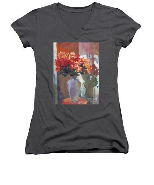 Chrysanthemums In Vase Women's V-Neck