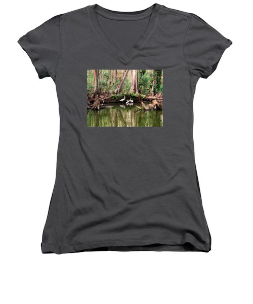 Cypress Swamp  Women's V-Neck (Athletic Fit)