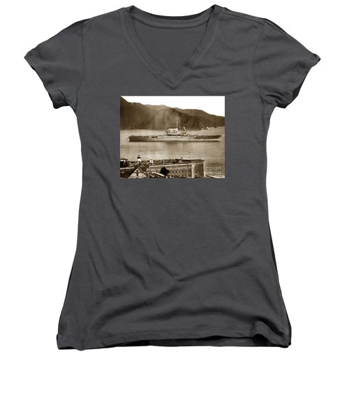U.s.s. Lexington Cv-2 Fort Point Golden Gate San Francisco Bay California 1928 Women's V-Neck T-Shirt (Junior Cut) by California Views Mr Pat Hathaway Archives