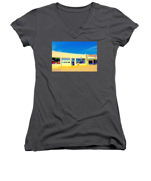 Women's V-Neck T-Shirt (Junior Cut) featuring the mixed media   Hopper Garage by Terence Morrissey