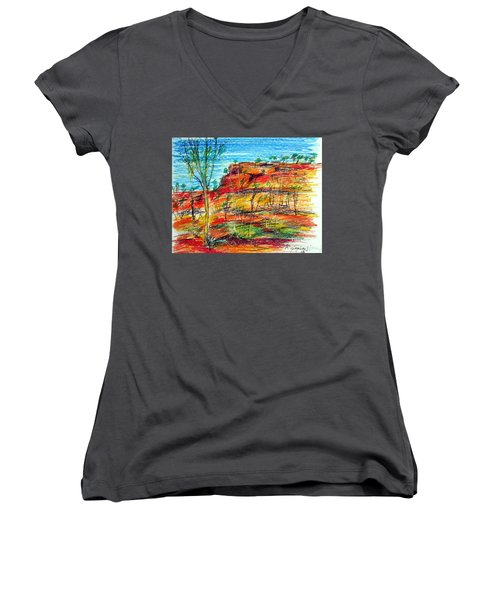 Women's V-Neck T-Shirt (Junior Cut) featuring the painting  Kimberly Bold Cliffs Australia Nt by Roberto Gagliardi
