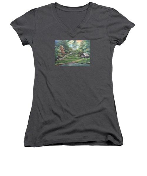 Light Down The River Women's V-Neck T-Shirt (Junior Cut) by Remegio Onia
