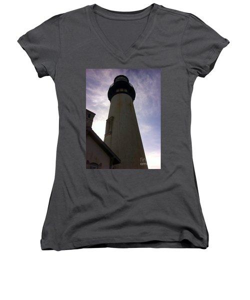 Light House Sky Women's V-Neck T-Shirt (Junior Cut) by Susan Garren