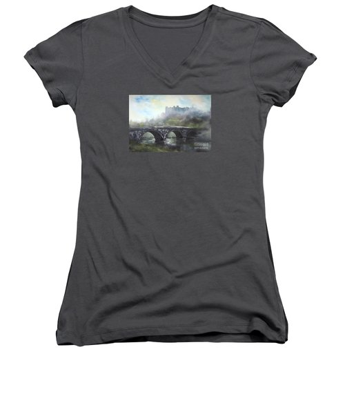 Ludlow Castle In A Mist Women's V-Neck T-Shirt