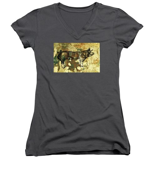 German Pietrain Boar 27 Women's V-Neck T-Shirt (Junior Cut) by Larry Campbell