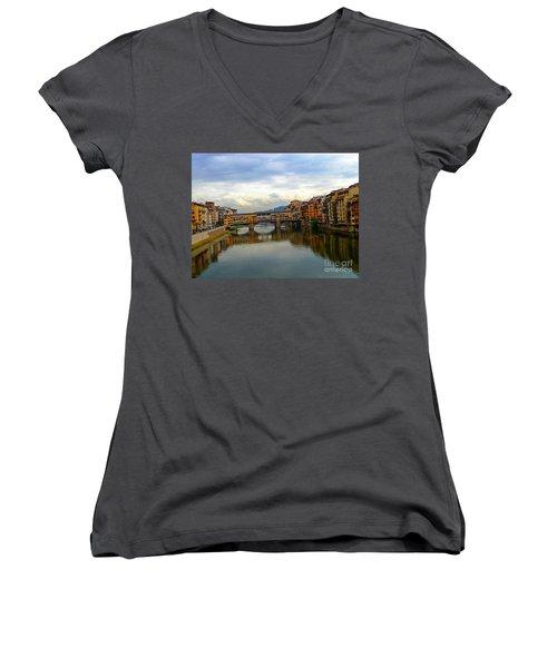 Ponte Vecchio's Padlocks Women's V-Neck T-Shirt