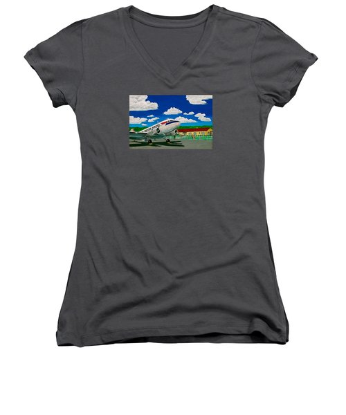 Portsmouth Ohio Airport And Lake Central Airlines Women's V-Neck T-Shirt (Junior Cut) by Frank Hunter