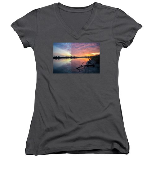 River Glows At Sunrise Women's V-Neck T-Shirt (Junior Cut) by Leticia Latocki