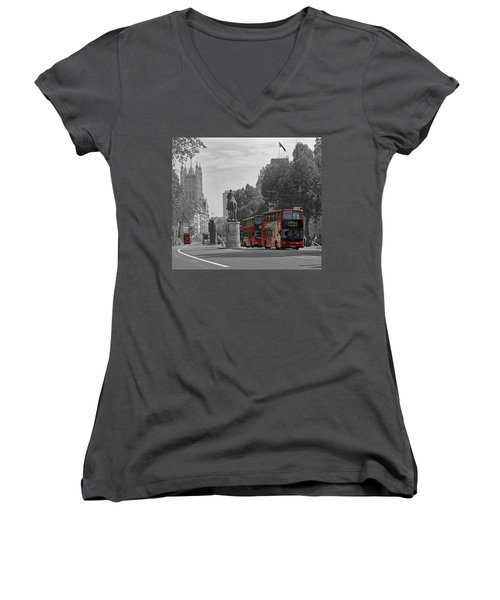 Routemaster London Buses Women's V-Neck T-Shirt (Junior Cut) by Tony Murtagh