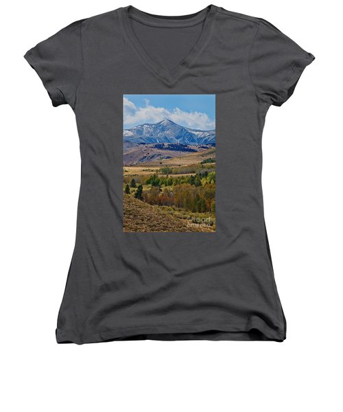 Women's V-Neck featuring the photograph  Sierras Mountains by Mae Wertz