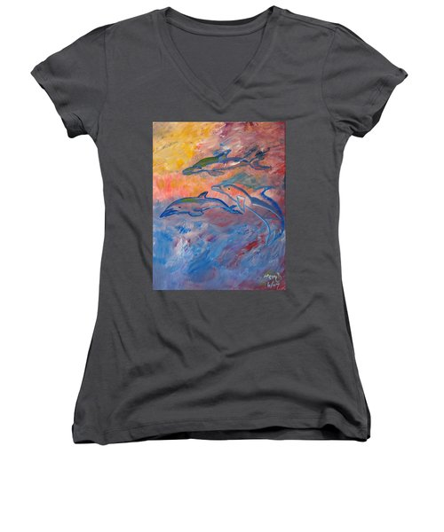 Soaring Dolphins Women's V-Neck T-Shirt (Junior Cut) by Meryl Goudey