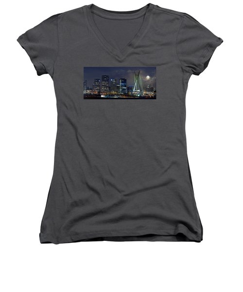 Supermoon In Sao Paulo - Brazil Skyline Women's V-Neck (Athletic Fit)