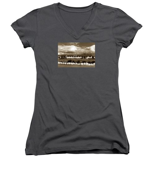 The Fort Ord Station Hospital Administration Building T-3010 Building Fort Ord Army Base Circa 1950 Women's V-Neck
