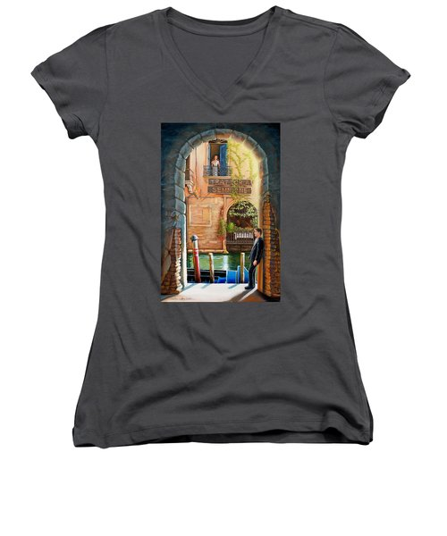 Thinking Of You Trattoria Sempione San Marco 578 Venezia Women's V-Neck T-Shirt