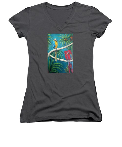 Three Is A Crowd,macaws Women's V-Neck T-Shirt