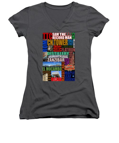 Toronto Typography Women's V-Neck T-Shirt (Junior Cut) by Andrew Fare