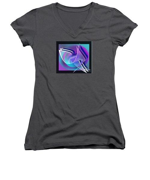 Twisted Linen Women's V-Neck T-Shirt (Junior Cut) by Iris Gelbart