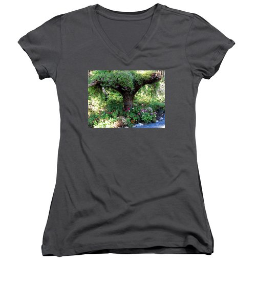 Women's V-Neck T-Shirt (Junior Cut) featuring the photograph  Upside Down Tree by Jennifer Wheatley Wolf