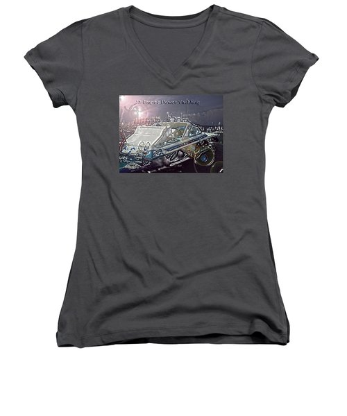 Yacht Art Women's V-Neck T-Shirt (Junior Cut) by Rogerio Mariani