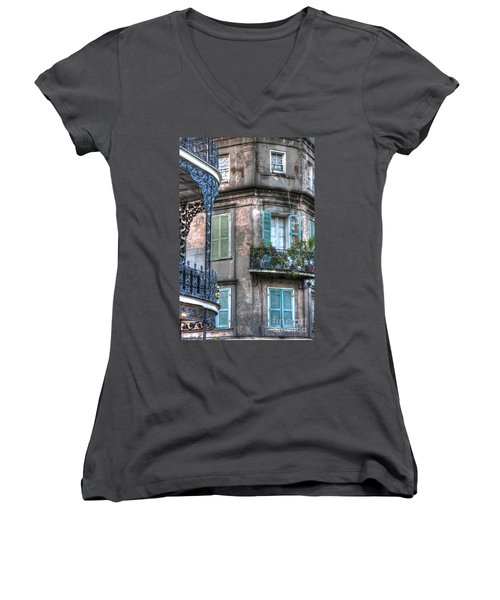 0254 French Quarter 10 - New Orleans Women's V-Neck T-Shirt (Junior Cut) by Steve Sturgill
