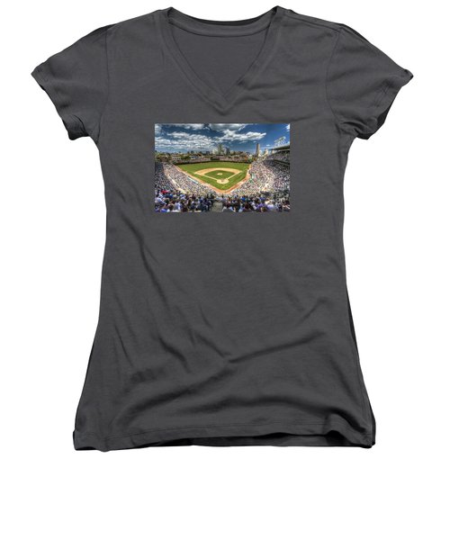 0443 Wrigley Field Chicago  Women's V-Neck T-Shirt (Junior Cut) by Steve Sturgill