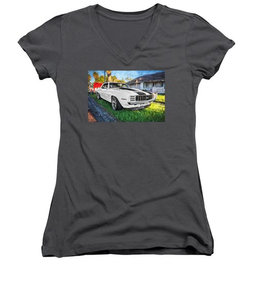 1969 Chevy Camaro Rs Painted  Women's V-Neck (Athletic Fit)