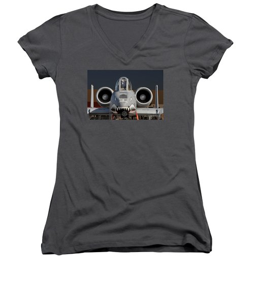A-10 Warthog Women's V-Neck T-Shirt (Junior Cut) by John Black