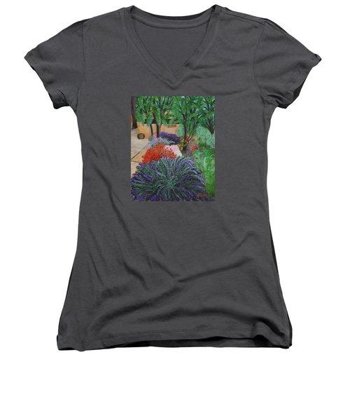 A Garden To Remember Women's V-Neck T-Shirt (Junior Cut) by Donna  Manaraze