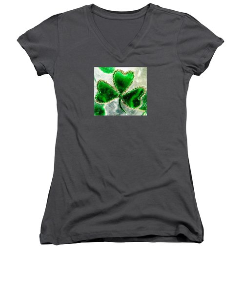 A Shamrock On Ice Women's V-Neck T-Shirt (Junior Cut) by Angela Davies
