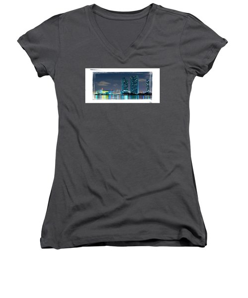 Women's V-Neck T-Shirt (Junior Cut) featuring the photograph American Airlines Arena And Condominiums by Carsten Reisinger
