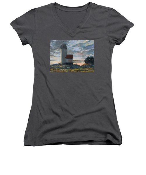 Annisquam Light Women's V-Neck T-Shirt (Junior Cut) by Eileen Patten Oliver