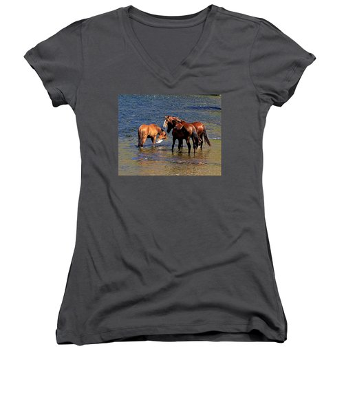 Arizona Wild Horses On The Salt River Women's V-Neck (Athletic Fit)