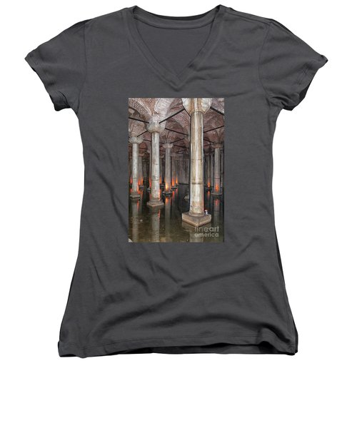 Basilica Cistern 02 Women's V-Neck T-Shirt (Junior Cut) by Antony McAulay