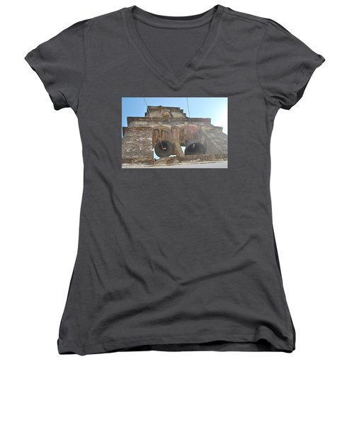 Women's V-Neck T-Shirt (Junior Cut) featuring the photograph Bell Tower 1584 by George Katechis