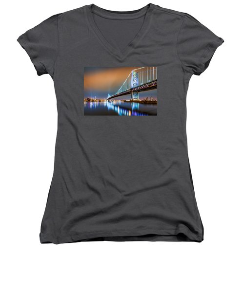 Ben Franklin Bridge And Philadelphia Skyline By Night Women's V-Neck
