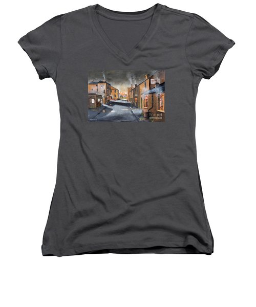 Black Country Village From The Boat Yard Women's V-Neck