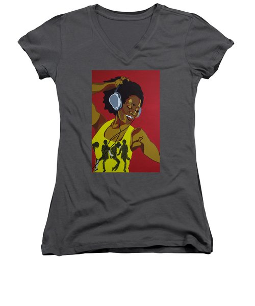 Blame It On The Boogie Women's V-Neck (Athletic Fit)