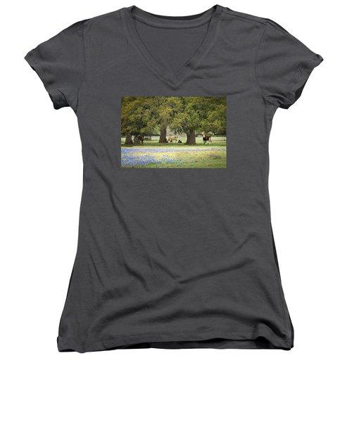 Bluebonnets And Bovines Women's V-Neck T-Shirt