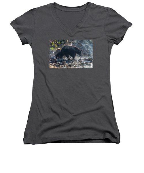 Bouldering Women's V-Neck T-Shirt (Junior Cut) by Scott Warner
