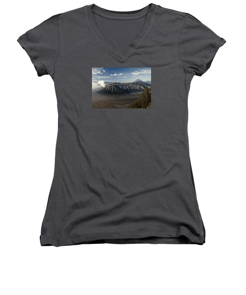 Bromo Mountain Women's V-Neck T-Shirt (Junior Cut) by Miguel Winterpacht