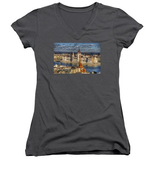Buda Parliament  Women's V-Neck T-Shirt (Junior Cut) by Nathan Wright