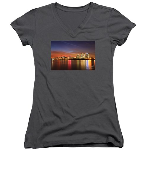 Women's V-Neck T-Shirt (Junior Cut) featuring the photograph Canary Wharf 2 by Mariusz Czajkowski