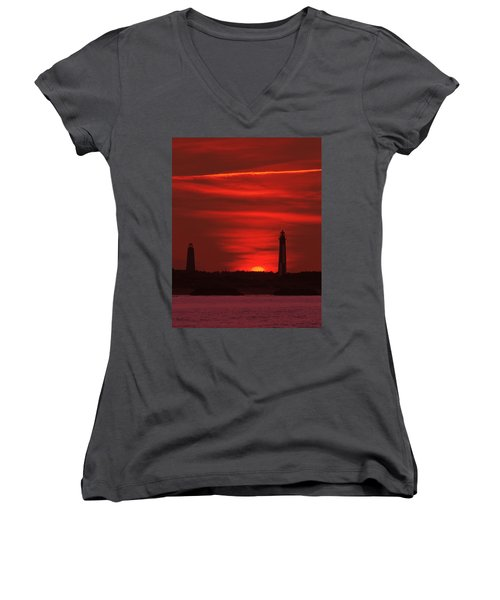 Cape Henry Lighthouses  Women's V-Neck