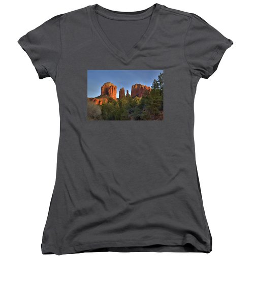 Women's V-Neck T-Shirt (Junior Cut) featuring the photograph Cathedral Rocks In Sedona by Alan Vance Ley