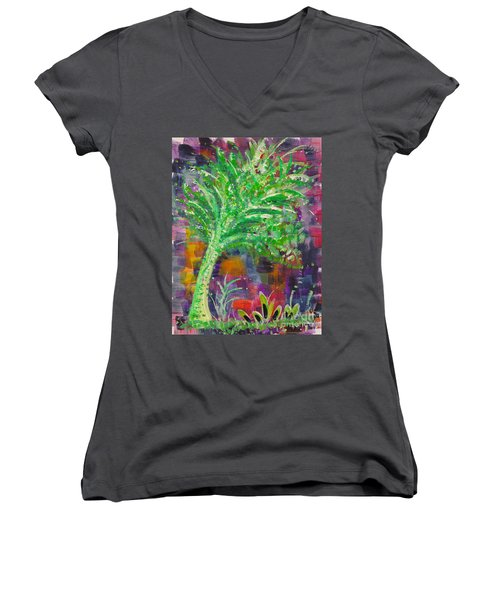 Women's V-Neck T-Shirt (Junior Cut) featuring the painting Celery Tree by Holly Carmichael